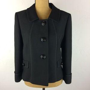 Tahari Arthur S. Levine Black Button Blazer Sz 12